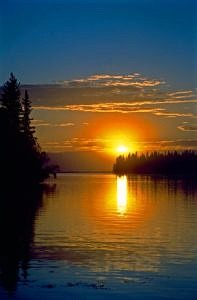 Zachód słońca, Clear Lake, Manitoba
