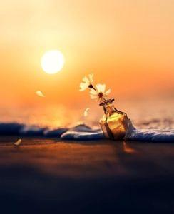 Butelka o zachodzie słońca